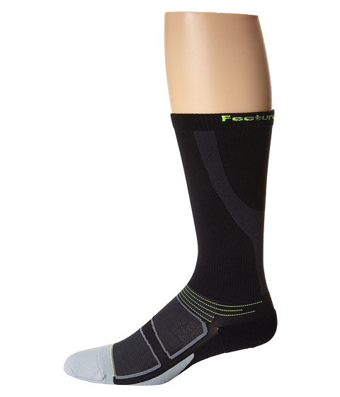 Feetures - Graduated Compression Knee High (Black/Reflector) Knee High Socks Shoes