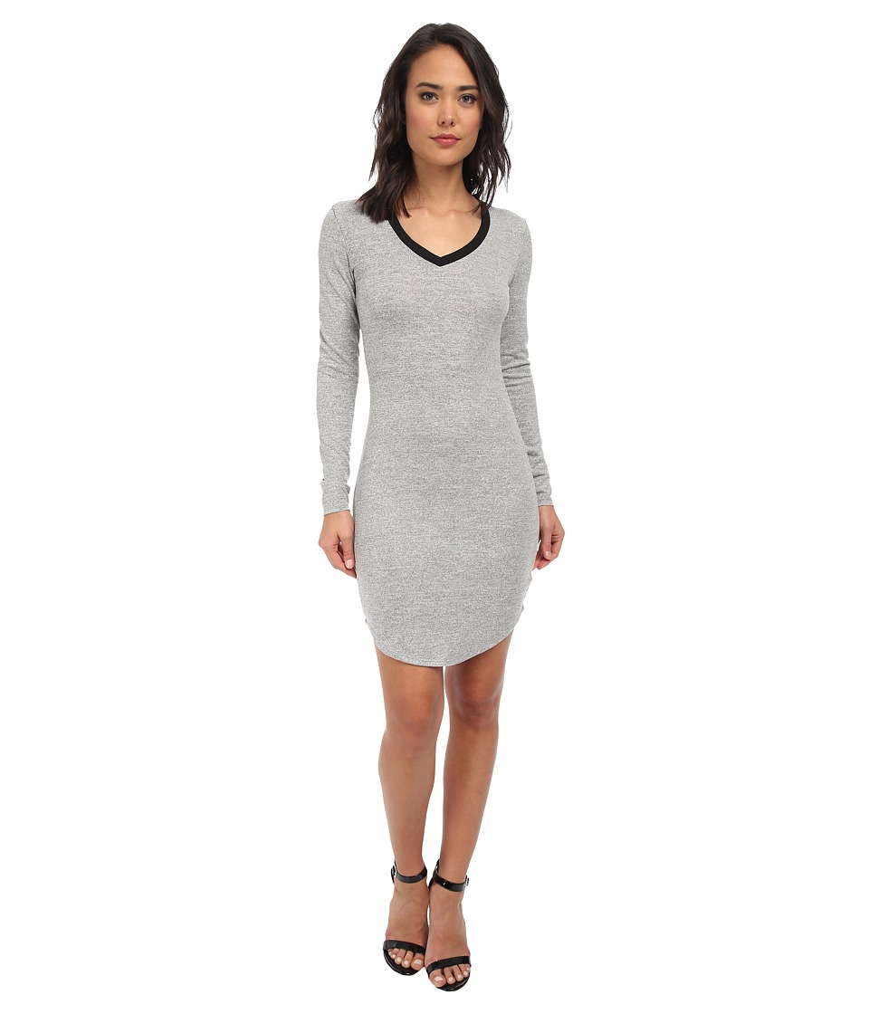 Brigitte Bailey - L/S Dress w/ Black Trim (Silver) Women's Dress