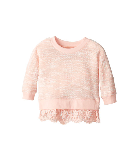 Lucky Brand Kids - Lace Hem Popover (Little Kids) (Impatients Pink) Girl's Long Sleeve Pullover