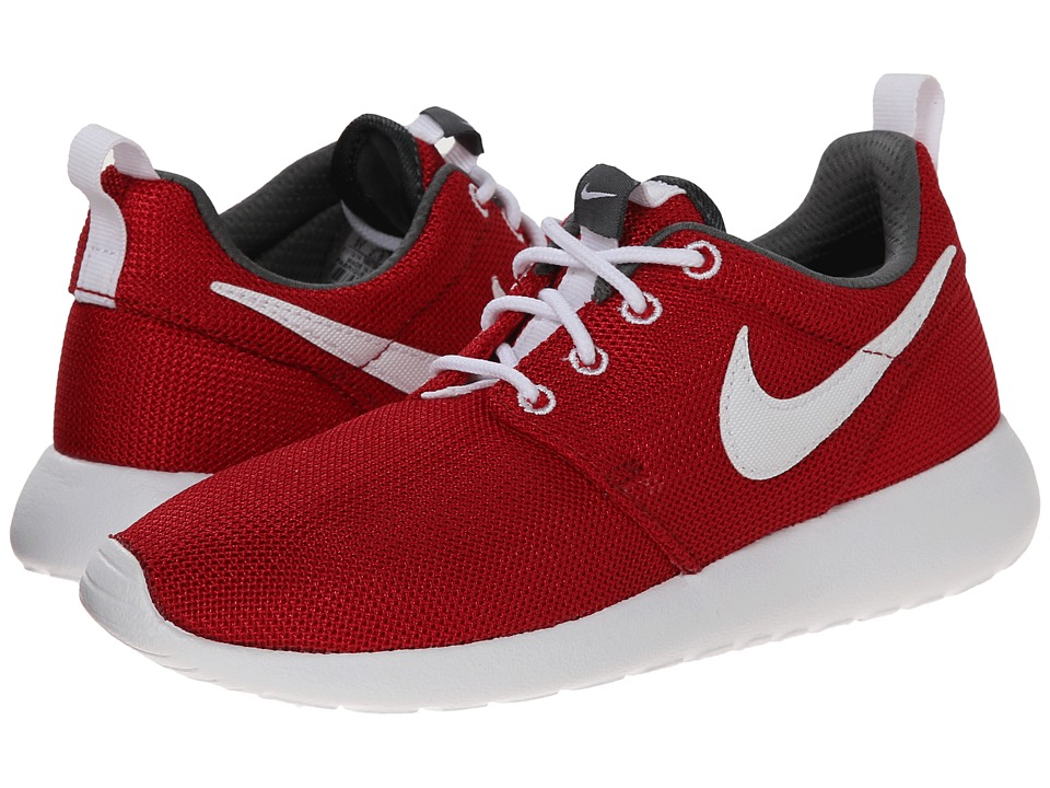 Nike Kids - Roshe Run (Little Kid/Big Kid) (Gym Red/Dark Grey/White) Kids Shoes