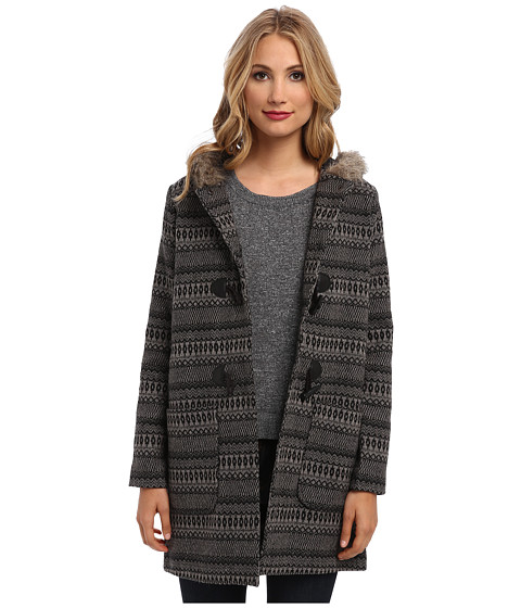 Jack by BB Dakota - Leary Patterned Wool Coat (Black) Women