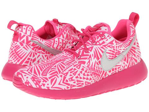Nike Kids - Roshe Run Print (Little Kid/Big Kid) (White/Vivid Pink/Pink Pow/Metallic Silver) Girls Shoes