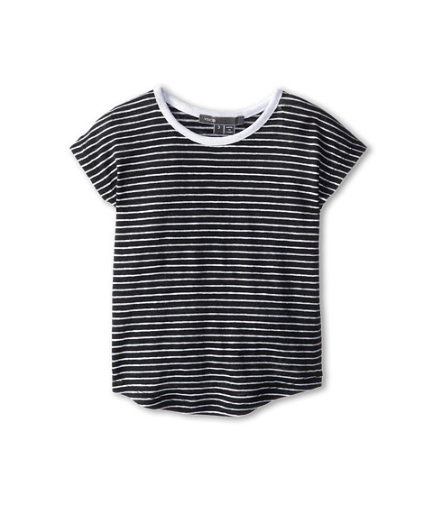 Vince Kids - Slub Cocoon U-Neck Tee (Toddler/Little Kids) (Black/White) Girl