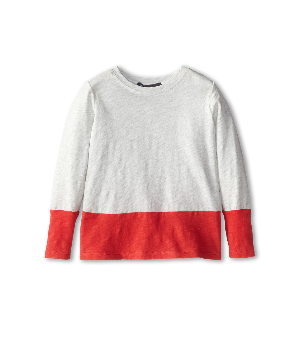 Vince Kids - Slub Color Blocked Tee (Toddler/Little Kids) (Heather Cloud/Nectar) Girl