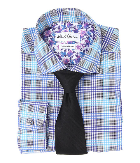 Robert Graham - X Tailored Fit Novara Dress Shirt (Blue) Men's Long Sleeve Button Up