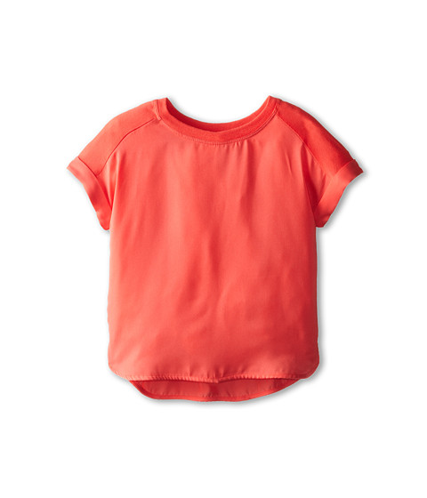 Vince Kids - Mixed Media Roll Sleeve Top (Toddler/Little Kids) (Nectar) Girl's Clothing