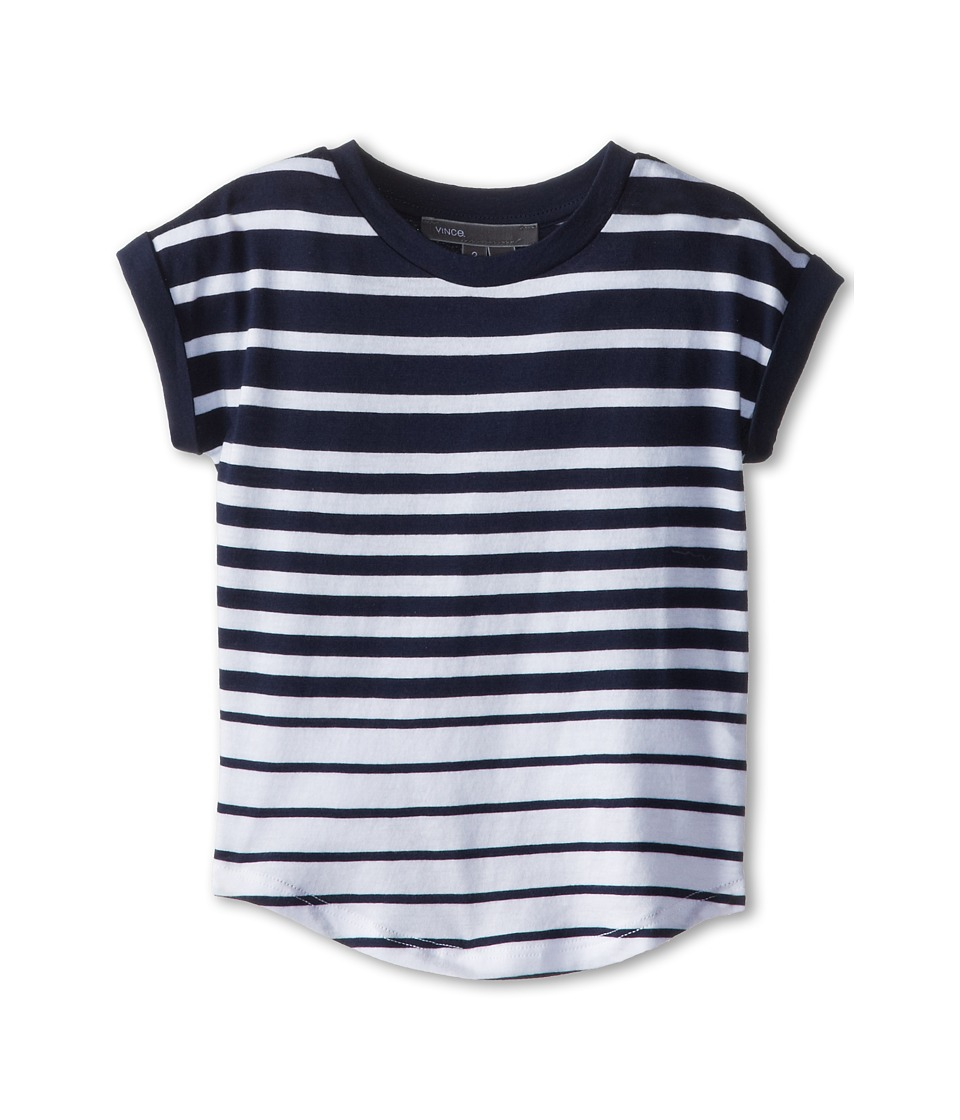 Vince Kids - Stripe Roll Sleeve Top (Toddler/Little Kids) (Ink Stripe) Girl