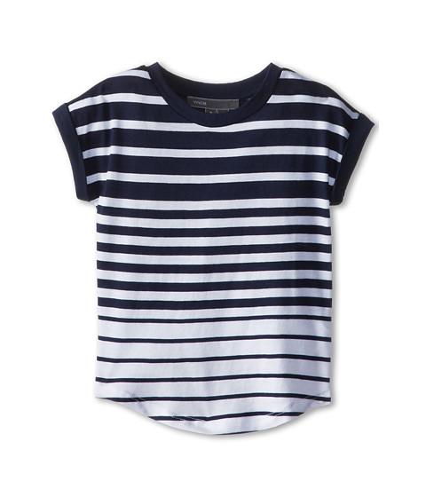 Vince Kids - Stripe Roll Sleeve Top (Toddler/Little Kids) (Ink Stripe) Girl's Clothing