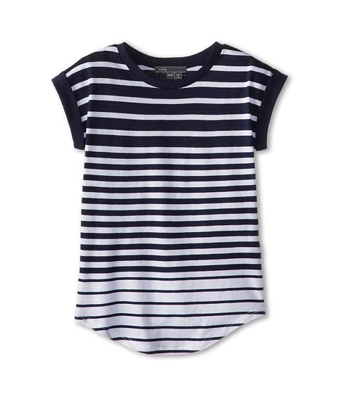 Vince Kids - Stripe Roll Sleeve Top (Big Kids) (Ink Stripe) Girl's Clothing