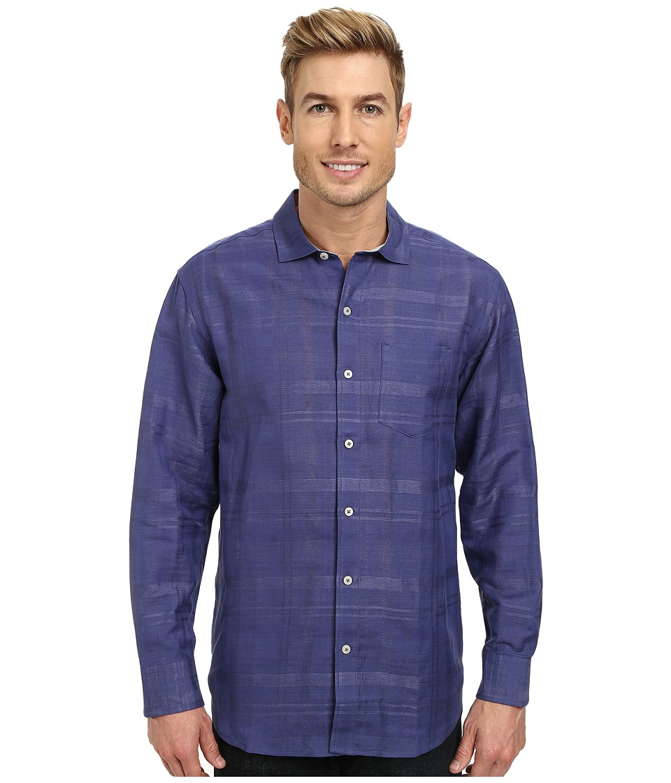 Tommy Bahama - Squarely There L/S Button Up (Dusty Marina) Men's Long Sleeve Button Up