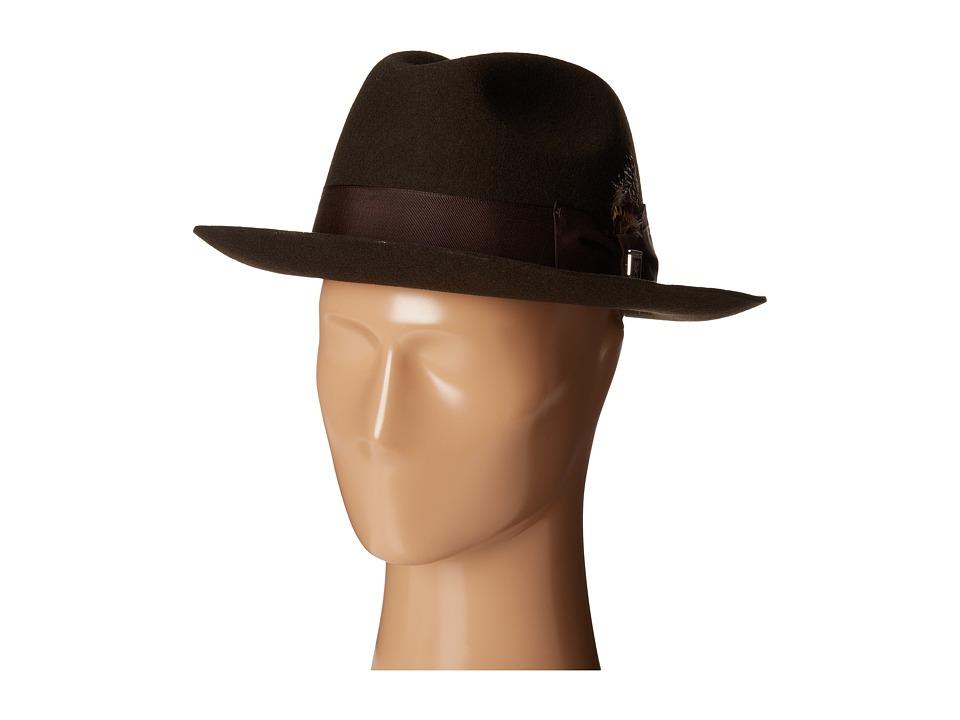 Stacy Adams - Wool Felt Fedora w/ Grosgrain Band (Chocolate) Fedora Hats