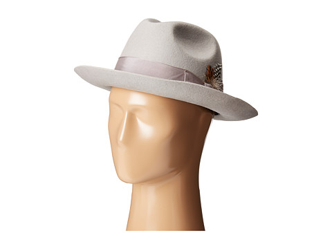 Stacy Adams - Wool Felt Fedora w/ Grosgrain Band (Light Grey) Fedora Hats