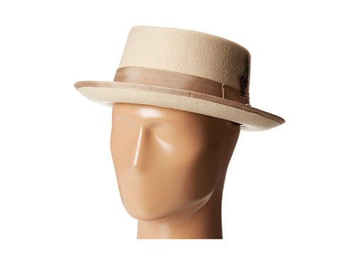 Stacy Adams - Pork Pie Wool Felt Hat w/ Grograin Band (Cream) Caps