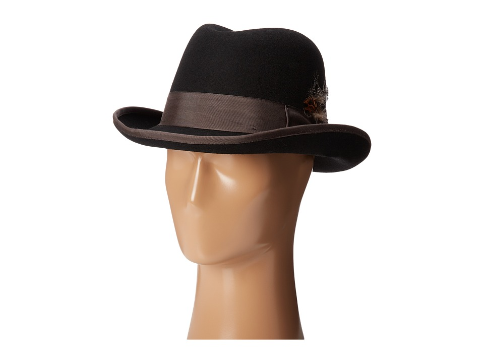 Stacy Adams - Homburg Wool Felt Hat w/ Contrast Grograin Band (Black) Fedora Hats