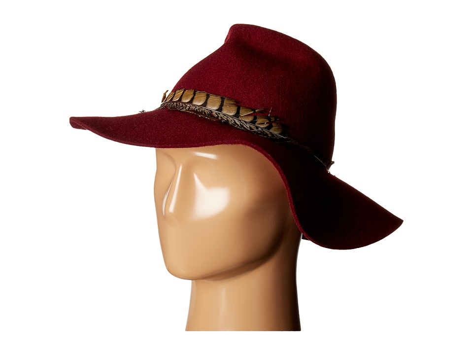 SCALA - Wool Felt Safari with Feather Band (Burgundy) Caps
