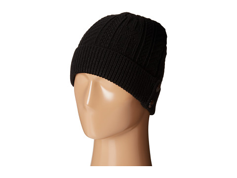 SCALA - Cabel Knit Cap with Cuff and Buttons (Black) Caps