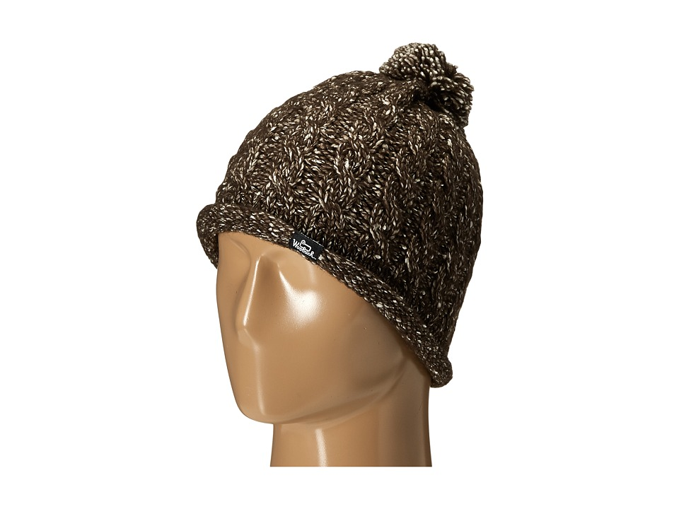 Woolrich - Cable Beanie w/ Rolled Edge (Brown) Beanies