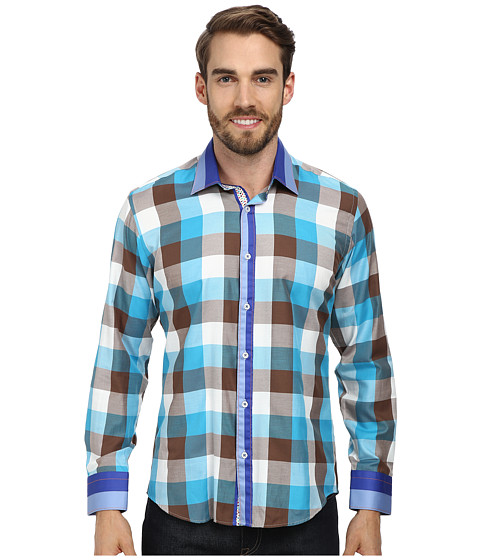 DI NERO MILANO - Autumn Check Casual Dress Shirt (Blue/Aqua/Brown) Men's Clothing