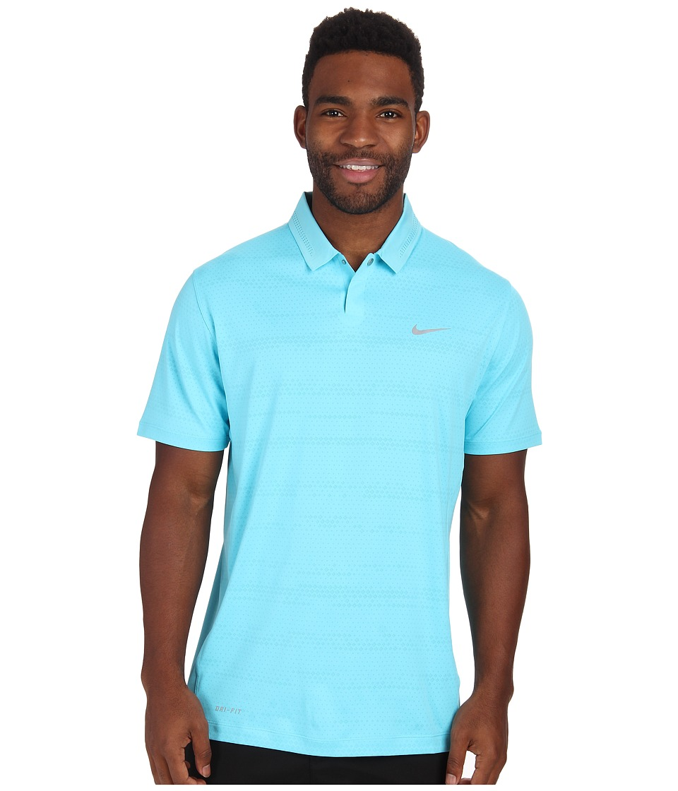 Nike Golf - Air Flow Jacquard (Clearwater/Wolf Grey) Men's Short Sleeve Knit