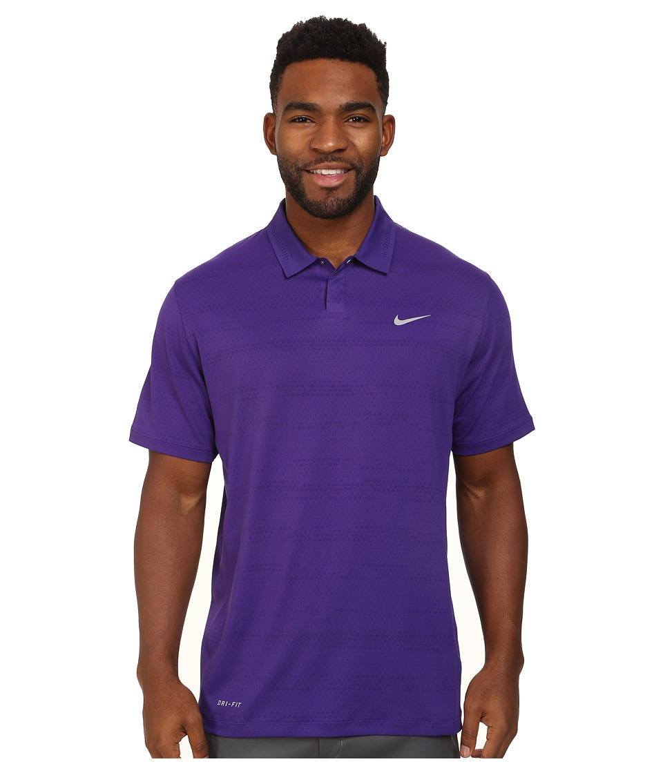 Nike Golf - Air Flow Jacquard (Court Purple/Wolf Grey) Men's Short Sleeve Knit