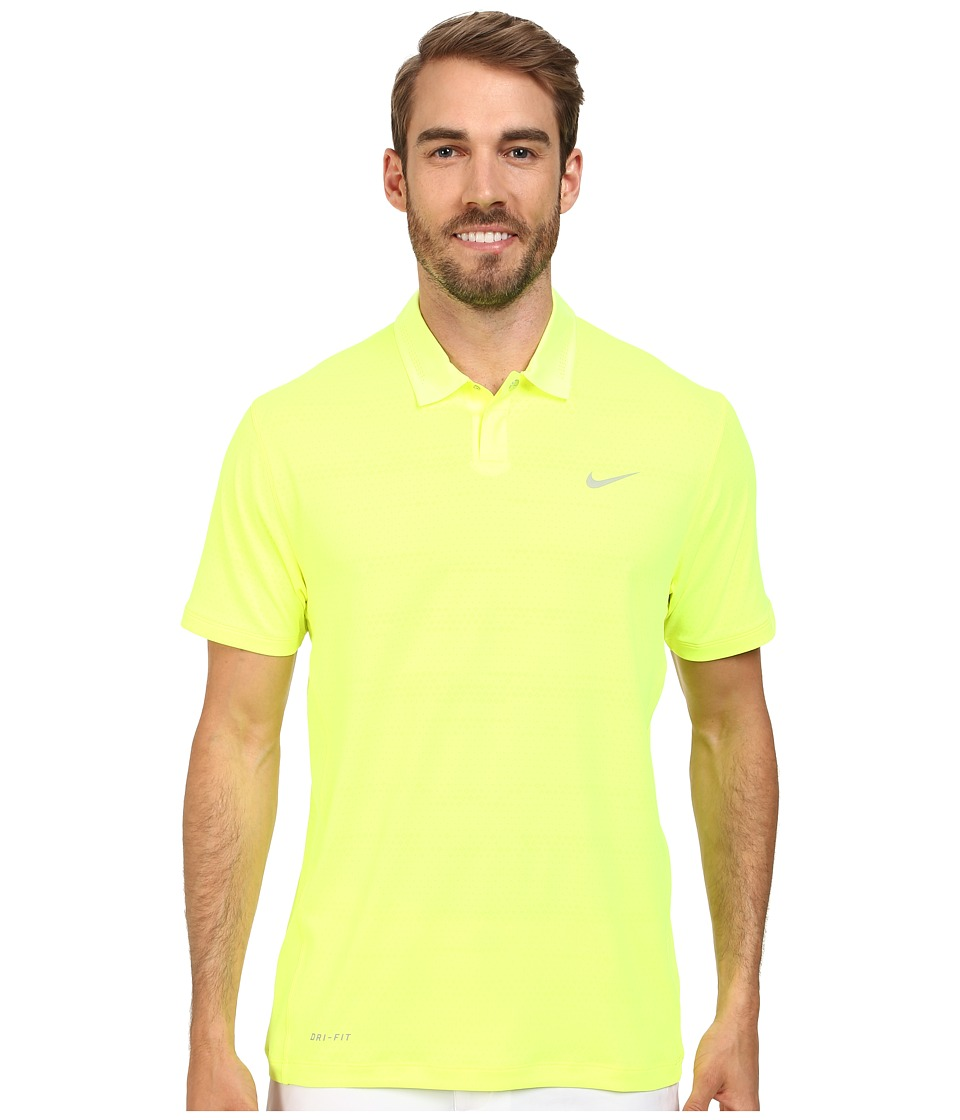 Nike Golf - Air Flow Jacquard (Volt/Wolf Grey) Men's Short Sleeve Knit