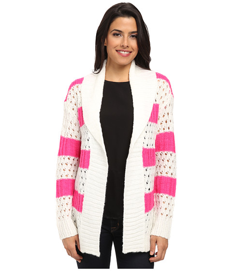 U.S. POLO ASSN. - Chunky Knit Cardigan (Pink Peak Combo) Women's Sweater