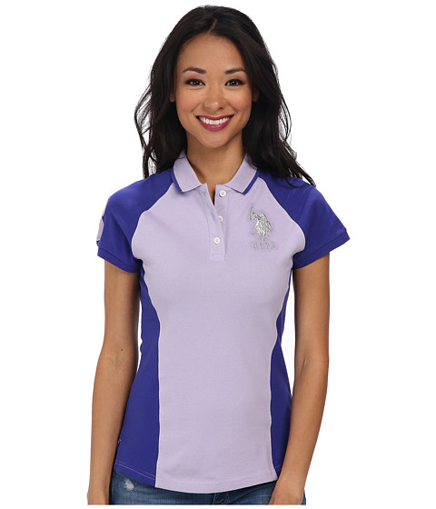 U.S. POLO ASSN. - Color Block Polo with Silver Lurex Embroidery (Lavender Sail) Women's Short Sleeve Pullover