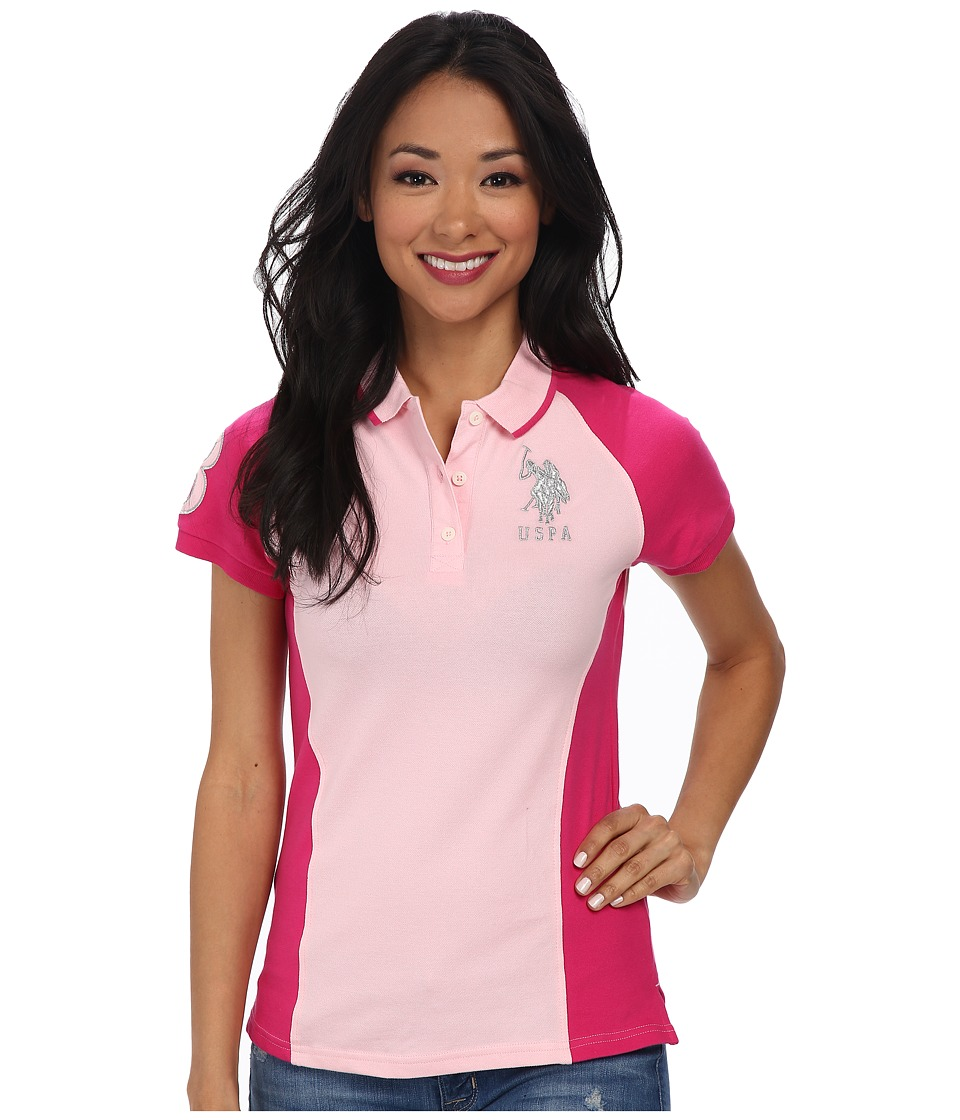 U.S. POLO ASSN. - Color Block Polo with Silver Lurex Embroidery (Pinkness) Women's Short Sleeve Pullover