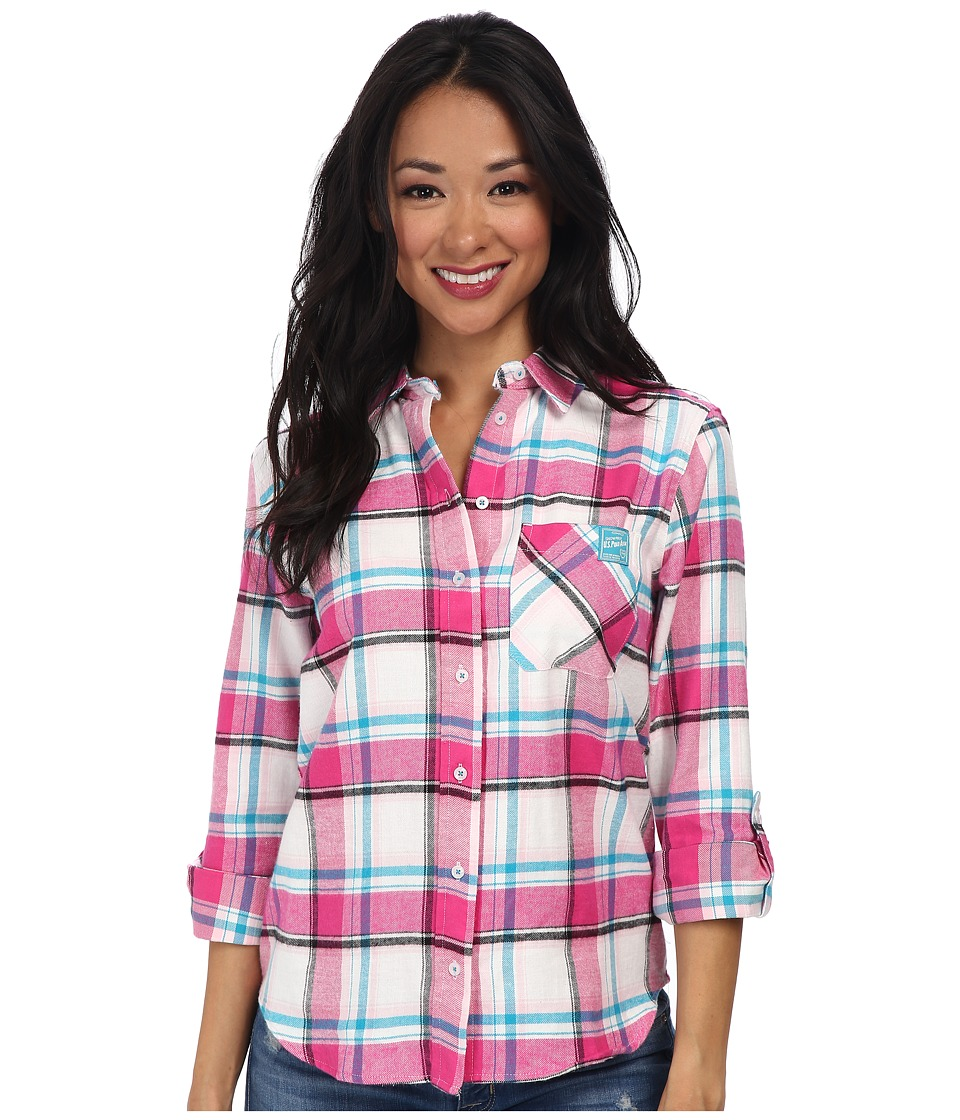 U.S. POLO ASSN. - Long Sleeve Brushed Flannel Plaid Contrast Pocket Shirt (Pink Peak) Women's Long Sleeve Button Up
