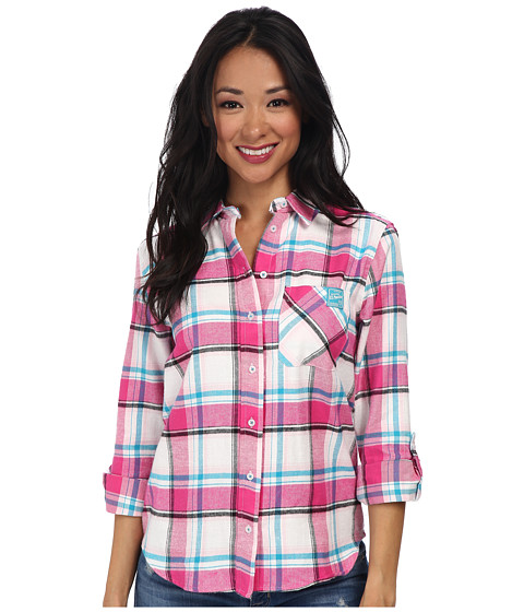 U.S. POLO ASSN. - Long Sleeve Brushed Flannel Plaid Contrast Pocket Shirt (Pink Peak) Women