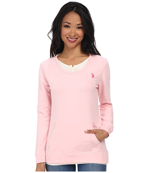 U.S. POLO ASSN. - French Terry 2-Fer Look Pullover (Pinkness) Women