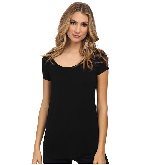 Susana Monaco - Cap Sleeve Top (Black) Women's Short Sleeve Pullover