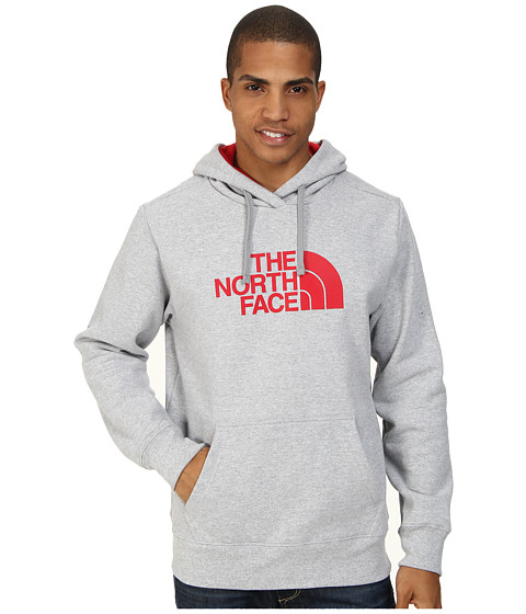 The North Face - Half Dome Hoodie (Heather Grey TNF Red) Men's Long Sleeve Pullover
