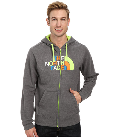 The North Face - Half Dome Zip Up (Charcoal Grey Heather Safety Green Multi) Men's Sweatshirt