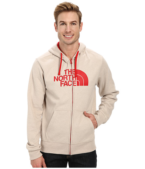 The North Face - Half Dome Zip Up (Oatmeal Heather TNF Red) Men's Sweatshirt