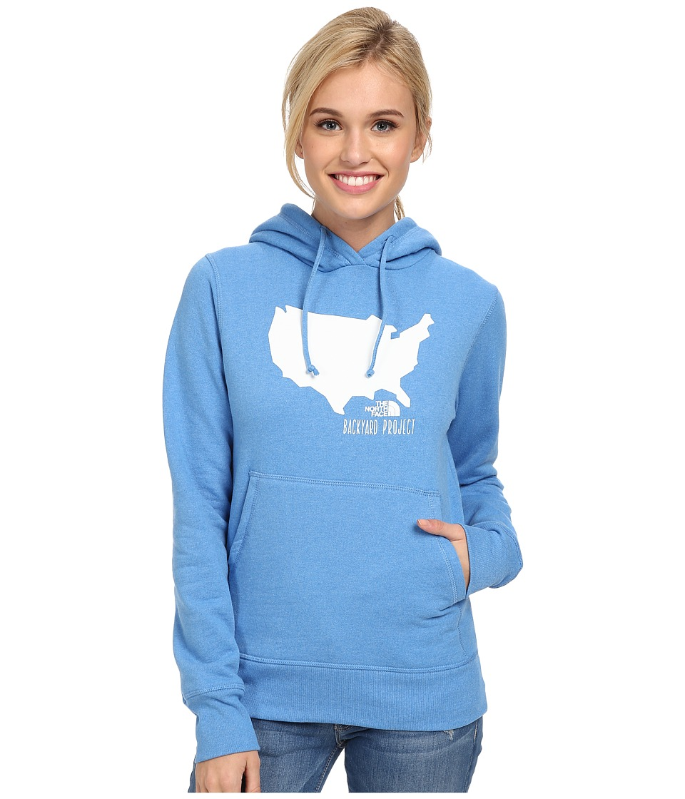 The North Face - Backyard USA Pullover Hoodie (Clear Lake Blue Heather) Women
