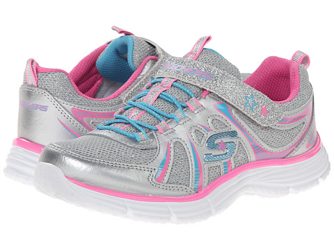SKECHERS KIDS - Ecstatix (Little Kid/Big Kid) (Silver/Multi) Girls Shoes