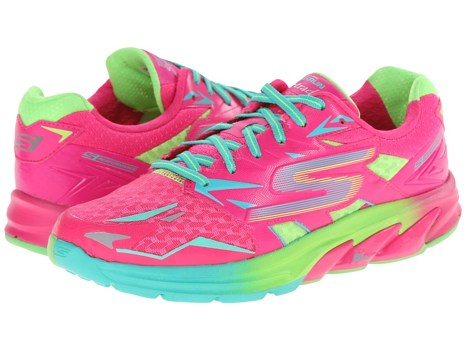 SKECHERS - Go Run Strada (Hot Pink/Green) Women's Running Shoes