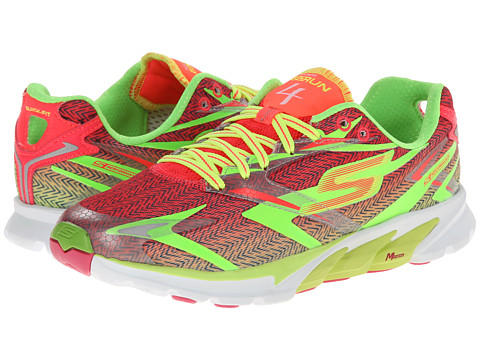 SKECHERS - Go Run 4 (Lime/Hot Pink) Women's Running Shoes