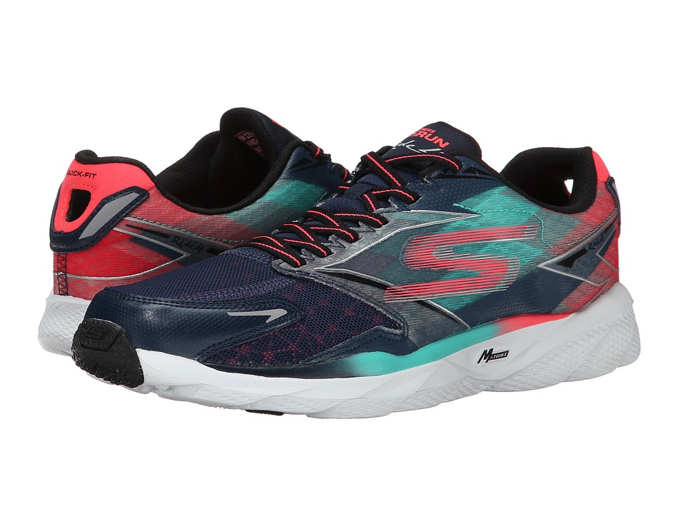 SKECHERS - GO Run Ride 4 (Navy/Coral) Women's Classic Shoes
