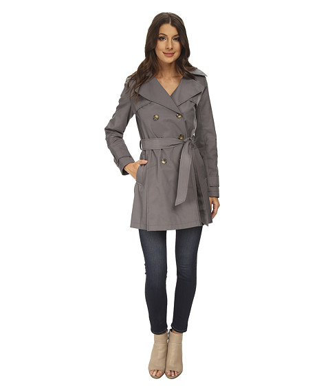 DKNY - Double-Breasted Hooded Trench Coat (Grey) Women's Coat