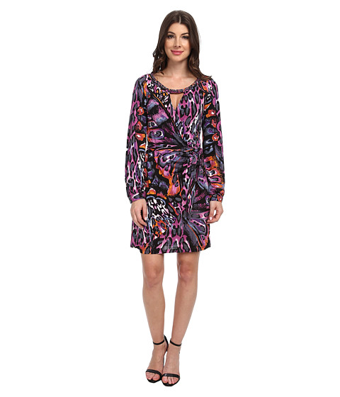 Hale Bob - St. Barts For Holidays Faux Wrap Dress (Fuchsia) Women's Dress