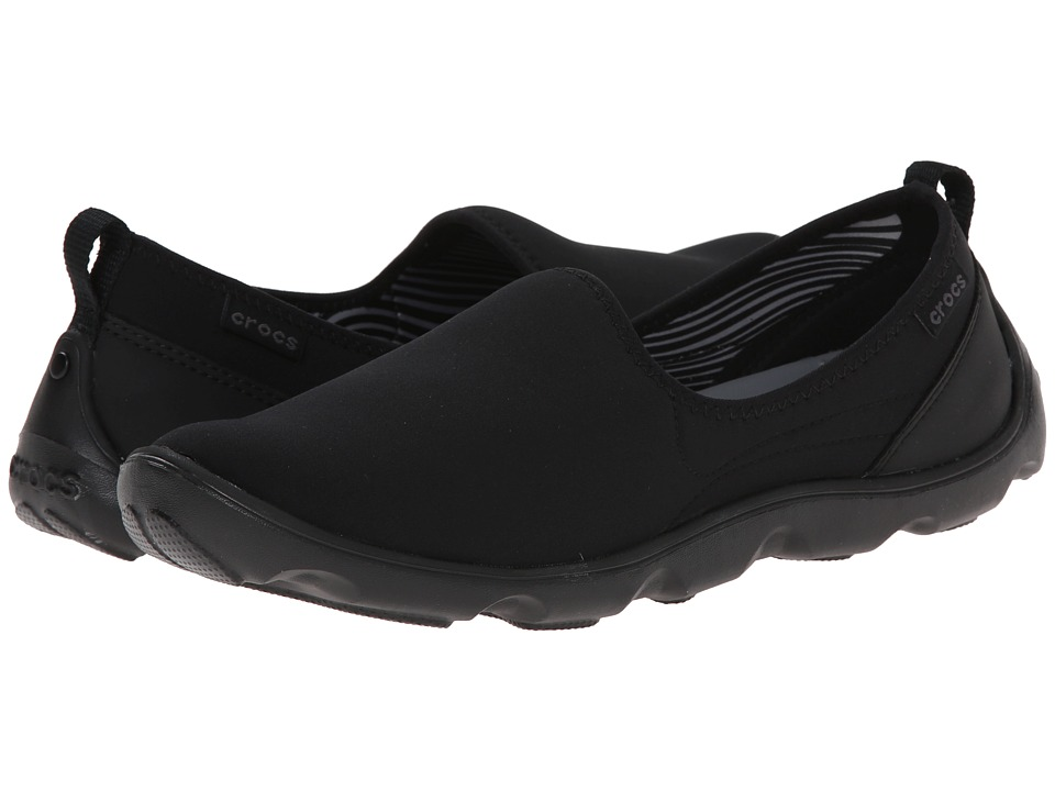 Crocs - Duet Busy Day Skimmer (Black/Black) Women's Slip on Shoes