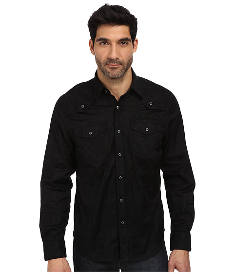 Affliction - Circuit Shadow L/S Woven Shirt (Black) Men's Long Sleeve Button Up