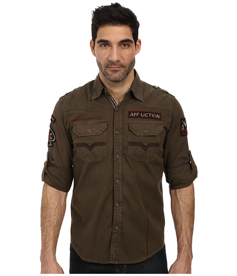 Affliction - Live Free Ride Free L/S Woven Shirt (Military Green) Men's Long Sleeve Button Up