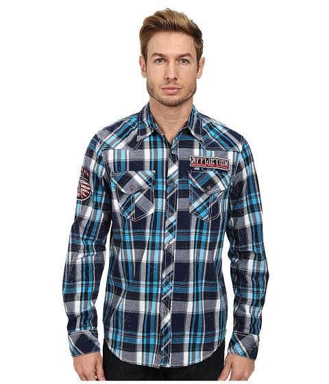 Affliction - Infinity Dream L/S Woven Shirt (Cyan) Men's Long Sleeve Button Up