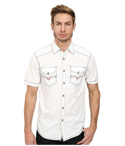 Affliction - Out Of The Silence Woven Shirt (White) Men's Short Sleeve Button Up