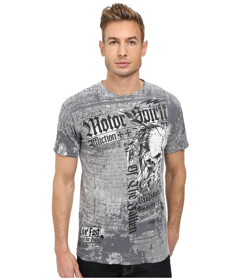 Affliction - Motor Tribe S/S Tee (Silver Lava Wash) Men's T Shirt