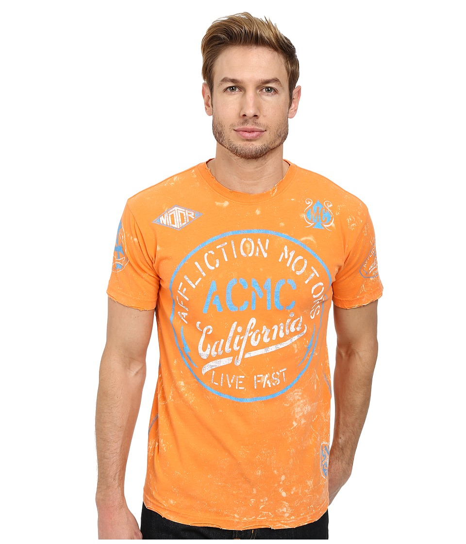 Affliction - Speed Shop S/S Tee (Orange) Men's T Shirt