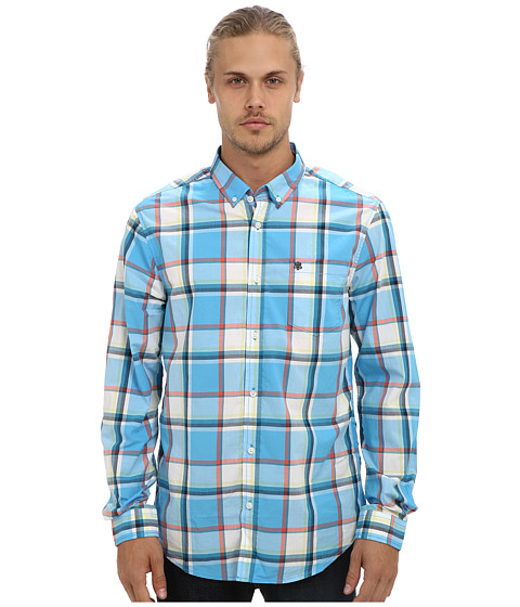 Mavi Jeans - Checked Shirt (Blue) Men's Long Sleeve Button Up